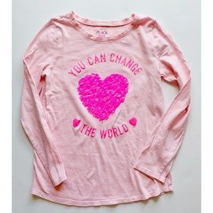 Children's Place Shirts & Tops - Girls -Pink long sleeve heart top